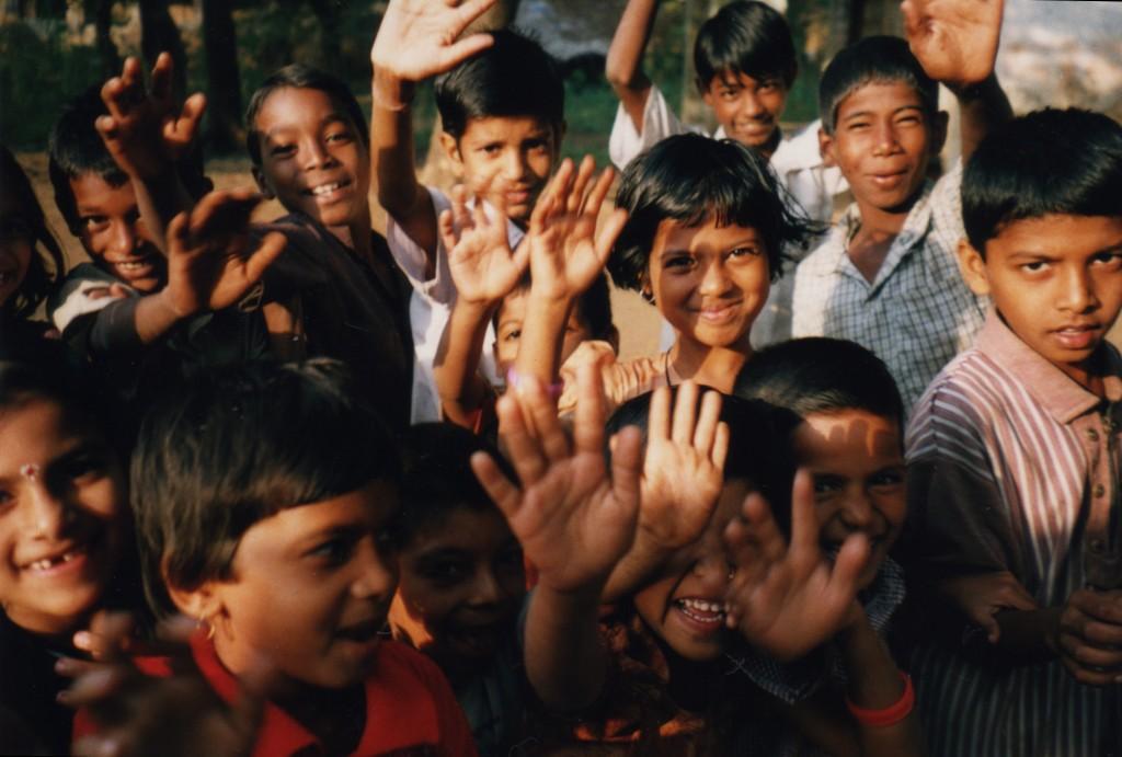 Kids in Ganeshpuri Waving