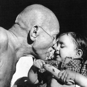 Gandhi with child